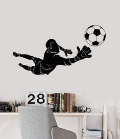 Sports Wall Decals, Vinyl Wall Decals, Soccer Bedroom, Wall Murals, Wall Art, Light Painting, Goalkeeper, Dream Rooms, Entryway Decor