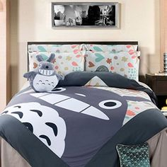Amazon.com: Casofu® Gray Totoro Bedsheet Style Bedding Set, Cartoon Bedding Sets for Kids, Twin/Full/Queen: Home & Kitchen