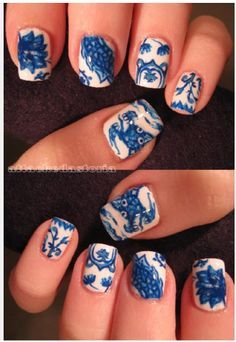 Blue & White Porcelain Nail Art