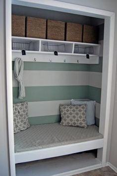 Convert an entry coat closet into a cozy area for storing outerwear, keys, scarves and all other items you take off or put on depending on whether you're coming or going. The built-in seating provides a comfortable space to put on or take off shoes, which can be stored underneath.
