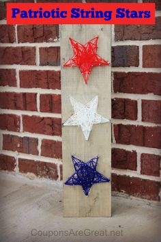 Create an easy and adorable patriotic craft with these red, white, and blue string art stars.