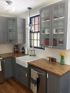 Ikea Gray Kitchen Cabinets With Butcher Block Counter Top Home - Grey kitchen cabinets with wood countertops