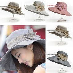 e557d194 UV Protect Wide Brim Women's Lace Flowers Cotton Linen Bucket Hat Beach Sun  Cap