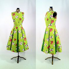 Vintage 1950s Lime Green & Floral Cotton Reproduction Dress with Paneled Skirt