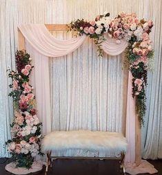 Pink Paisley Decor on Rustic florals decoracin romantic Wedding Stage Decorations, Wedding Stage Backdrop, Wedding Backdrop Design, Desi Wedding Decor, Engagement Decorations, Backdrop Decorations, Balloon Decorations, Wedding Stage Design, Rustic Wedding Backdrops