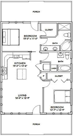 2 Bedroom Floor Plans, Small House Floor Plans, Cabin House Plans, Tiny House Cabin, 2 Bedroom Apartment Floor Plan, Tiny Cottage Floor Plans, Retirement House Plans, A Frame House Plans, The Plan