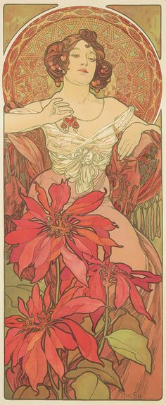 """Artist: ALPHONSE MUCHA (1860-1939) Size: 15 7/8 x 39 1/4 in./40.4 x 99.8 cm Imp Champenois, Paris  """"The Ruby"""" is one of four panels in Mucha's set, """"Precious Stones."""" Each lady represents a jewel whose color, in various hues, permeates her design, including the dress, flowers, and the mosaic pattern in the halo-like decorative circle behind her. (Art Nouveau, Flowers)"""