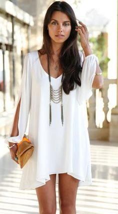 White Flowing Mini Dress with sleeve cut-outs