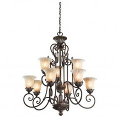 Buy the Kichler Legacy Bronze Direct. Shop for the Kichler Legacy Bronze Sarabella Chandelier with 9 Lights - Chain Included - 33 Inches Wide and save. Large Foyer Chandeliers, Buy Chandelier, Chandelier Lighting, Luxury Lighting, Cool Lighting, Direct Lighting, Tuscan Style, Lighting Solutions, Glass Shades