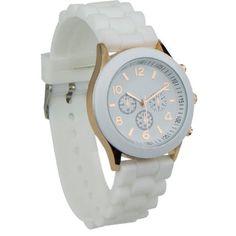 White Unisex Silicone Quartz Analog Wrist Watch