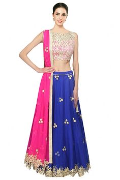 Royal blue gota patti work lehenga and pink blouse set by Amrita Thakur Indian Wedding Outfits, Bridal Outfits, Indian Outfits, Indian Clothes, Ghagra Choli, Lehenga Saree, Anarkali, Indian Attire, Indian Wear
