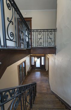 Beautiful iron craftwork on the mail stairwell Stone Mansion, Washington Street, Renting A House, Stairs, Iron, Mansions, Building, Beautiful, Home Decor