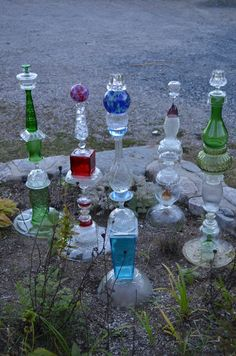 Funky Junky Garden Totems, recycled glass