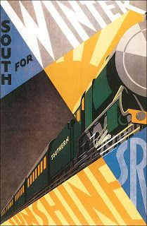 Painting - South For Winter - Southern Railway Art Deco Poster - Vintage Travel Advertising by Studio Grafiikka , Vintage Travel Posters, Vintage Ads, Poster Vintage, Railway Posters, Posters Uk, Train Posters, Southern Railways, Decoupage, Painting Edges