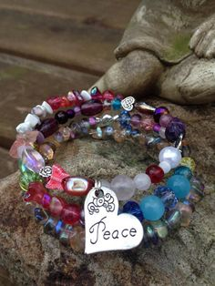 Be The Peace three wrap memory wire bracelet by DFInspirations, $30.00