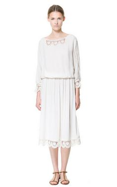 Image 1 of LONG DRESS WITH LACE TRIMMING from Zara