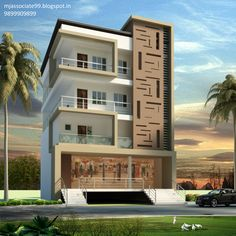 front elevation designs for duplex houses in india 3 Storey House Design, Duplex House Design, House Front Design, Modern House Design, Apartment Design, Building Elevation, House Elevation, Independent House, Facade Design