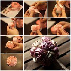 satin rose bouquet for bridal