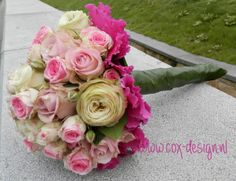 Bouquet with Cyclamen and divers (garden) roses