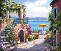 Tuscan Terrace - Counted cross stitch pattern in PDF format