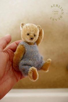 Charlie - Miniature Mohair Artist Teddy Bear by Aerlinn Bears