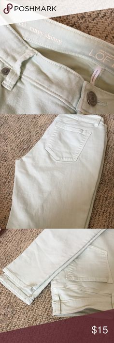 LOFT Skinny Jeans Light Mint Colored Skinny Jeans!! ... a touch of color and soft.  Great for all kinds of wear!  (Sorry, no trades.) LOFT Jeans Skinny