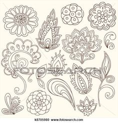 I like the flower elements, the bottom right lotus-like element, and the three paisley/leaf elements at the top row 2nd from left, very center, and 2nd row-ish 2nd from right