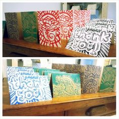 Hand-Printed Greeting Cards - 5 pack, $8.00