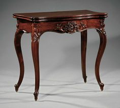 American Rococo Carved Rosewood Games Table, Serpentine Foldover Top, Conforming Floral Frieze, Cabriole Legs, Scroll Feet - New York   c. Mid 19th  Century
