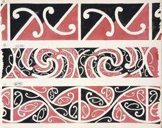 Godber, Albert Percy, :[Drawings of Maori rafter patterns]. Maori Patterns, Maori People, Maori Designs, Maori Art, Project 3, Royal Doulton, Easy Paintings, Pattern Drawing, Painting Patterns