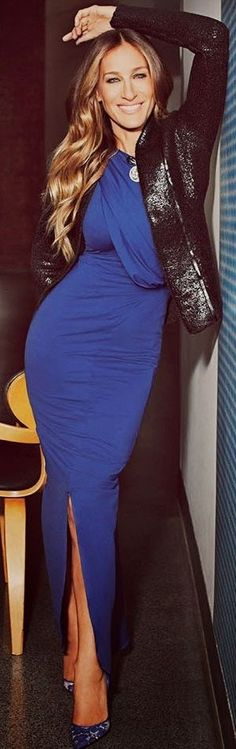 Love her! Sarah Jessica Parker with a Maria Valentina Blue Maxi Bodycon Dress