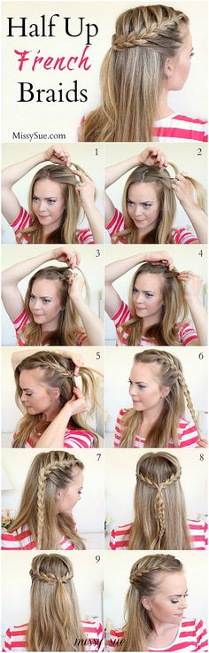 Half Up French Braids #SimpleBraidedHairstyles #SimpleHair click for more info..