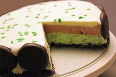 Mint chocolate ice cream cake for St. Patricks Day