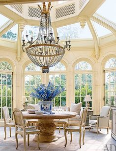 Conservatory / Breakfast Room :: French chateau in Houston, Texas :: completed in 1933 for J. Robert Neal, who made his fortune in Maxwell House coffee. - Fox Home Design Decor, House Design, Maxwell House Coffee, Home, Oaks House, Traditional Dining Room, Breakfast Room, Interior Design, Texas Mansions