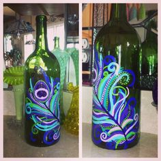 Easy Wine Bottle Crafts Ideas | Hand painted peacock feather wine bottle! | craft ideas (: