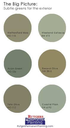 Earthy exterior color combo - soft, gray green, muted brick red ...