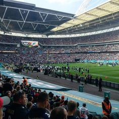 9 rows from the end zone. Gotta say these seats are pretty sweet for #NFLUK #UKFins @miamidolphins vs @nyjets at Wembley. #travel #football