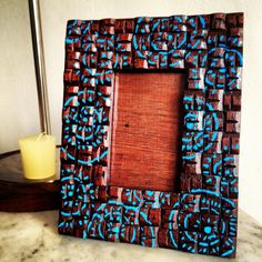 hand painted photo frame - tribal revival by Tan Living