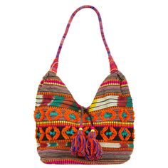 Tassel Circles Slouchy Fabric Bag - Multi Orange by Adorne. Bohemian bag  great for 2fe2950aa3ff5
