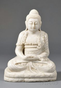 Marble Carving, China, 20th century, seated figure of Amida Buddha, ht. 20 in