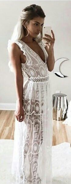 #fall #outfits White Lace Maxi Dress