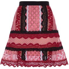 Self-Portrait Floral Lace Skirt (925 BRL) ❤ liked on Polyvore featuring skirts, red floral skirt, knee length a line skirt, knee length lace skirt, red knee length skirt and floral print skirt