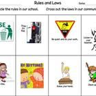 This worksheet had students distinguish between school rules and community laws....