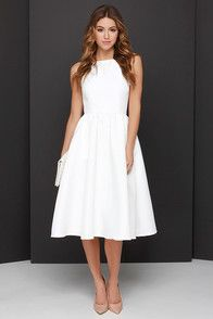 Lulus Exclusive! We're giving you the go-ahead to fill your world with grace and wonder in the Lead a Charmed Life Ivory Midi Dress! Thick, woven ivory fabric composes a flattering fitted bodice with a backless cut, and spaghetti straps sprouting from a squared-off neckline. Full midi skirt gathers into the waistline. Hidden back zipper/hook clasp. Fully lined. 100% Polyester. Hand Wash Cold.
