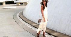 Look ibicenco con vestido midi blanco y sombrero, ¿te apuntas?