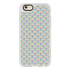 Pastel Rainbow Scalloped 1960s Pattern - iPhone 6s Case,iPhone 6... (€36) ❤ liked on Polyvore featuring accessories, tech accessories, iphone case, print iphone case, rainbow iphone case, iphone cover case, iphone hard case and iphone cases