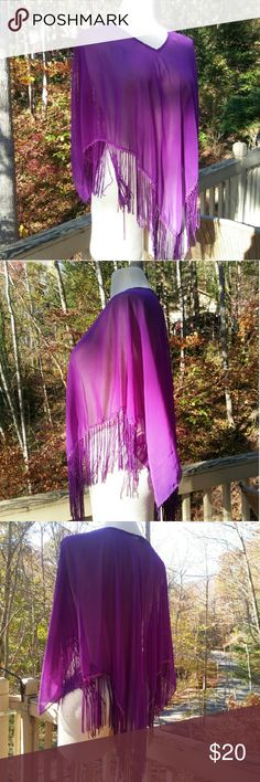 BEADED Fringe Shawl This Gorgeous Vintage Shawl Is Ethereal! If angels wear purple...  Edged with tiny shiny beads and long fringe. In excellent used condition. Easy to care for, wrinkle resistant. 100% polyester, made in India. From a smoke free home. Make an offer! Vintage Accessories Scarves & Wraps
