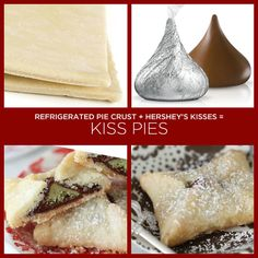 How easy to do!   Just wrap Kisses, any flavor turns out delicious, in ready made pie crust or crescent roll dough. Place 2 inches apart on a cookie sheet and back at 350 degrees for 20-28 minutes! Yummy Goodness!