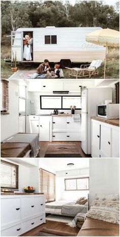 Not-so-handy couple turned a 1982 Windsor Statesman caravan into a blissfull holiday home. With a little help from dad - Wohnmobil Camper - Not-so-handy couple turned a 1982 Windsor Statesman caravan into a blissfull holiday home. Windsor, Tiny House Living, Rv Living, Living In A Camper, Caravan Living, Interior Trailer, Airstream Interior, Trailer Decor, Rv Interior Remodel