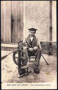 Did this man make the spinning wheel or did he use the wheel? Perhaps both.